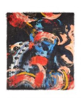 Alexander McQueen Wool Paint Print Skulls Scarf